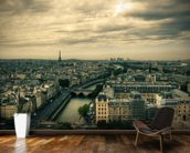 Paris Skyline from Notre Dame mural wallpaper kitchen preview