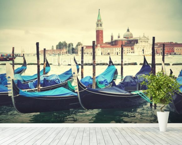 Venice Gondolas Vintage wallpaper mural room setting