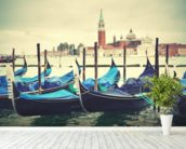 Venice Gondolas Vintage wallpaper mural in-room view