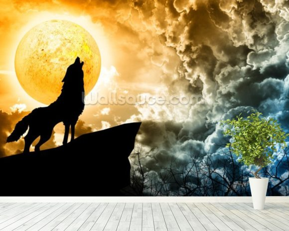 Wolf Howling in Silhouette wallpaper mural room setting