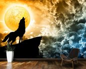 Wolf Howling in Silhouette wallpaper mural kitchen preview