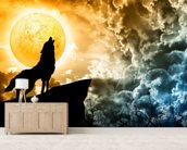 Wolf Howling in Silhouette wallpaper mural living room preview