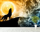 Wolf Howling in Silhouette wallpaper mural in-room view