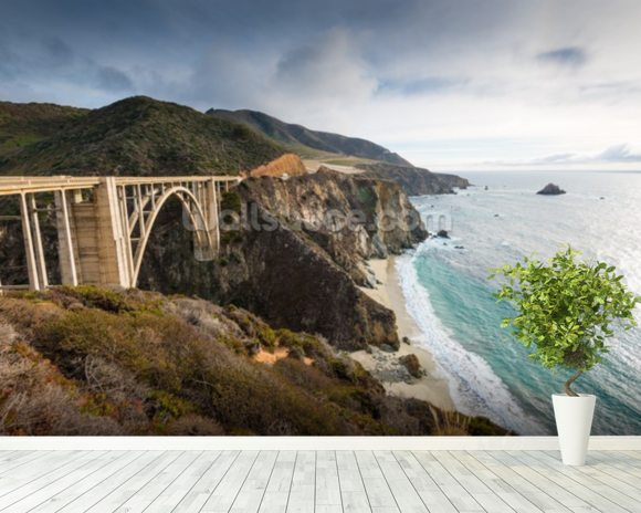 Pacific Coast Highway wallpaper mural room setting