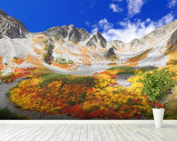 Colourful Mountain Landscape wall mural room setting