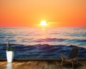 Orange Sunrise at Sea wall mural kitchen preview