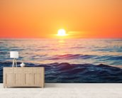 Orange Sunrise at Sea wall mural living room preview