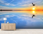 Blue Lake Reflections wallpaper mural living room preview
