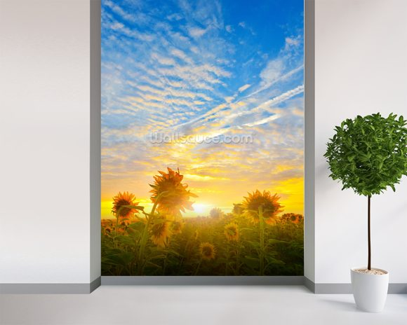 Sunflowers in Sunlight wall mural room setting