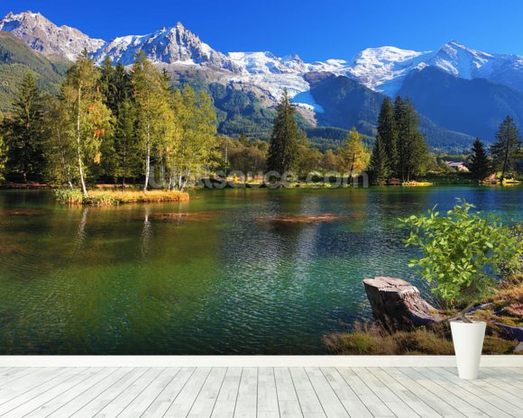 Snow Capped Mountains wall mural room setting