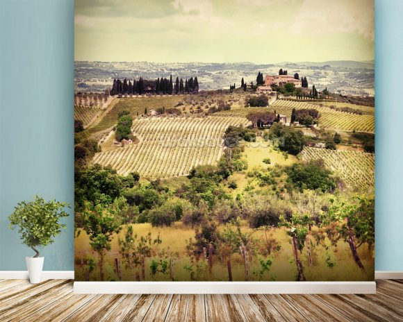 Vintage Tuscany wallpaper mural room setting