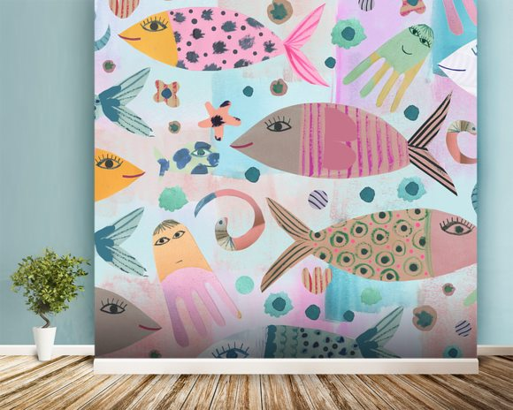 Aquarium wall mural aquarium wallpaper wallsauce usa for Aquarium mural wallpaper
