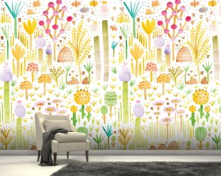 Cacti and Fungi Garden Wallpaper Wall Murals