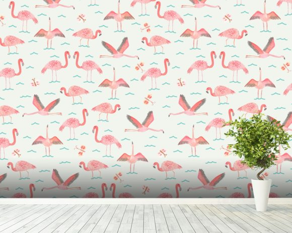 Flamingos wallpaper mural room setting