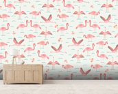 Flamingos wallpaper mural living room preview