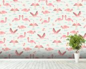 Flamingos wallpaper mural in-room view