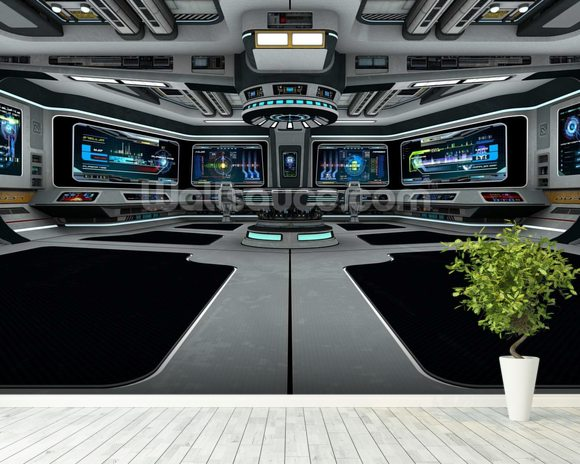 Spaceship Deck mural wallpaper room setting