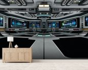 Spaceship Deck mural wallpaper living room preview
