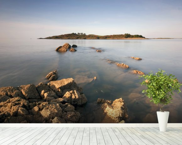 Island Rocks wallpaper mural room setting