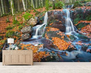 Leaves and Waterfall mural wallpaper