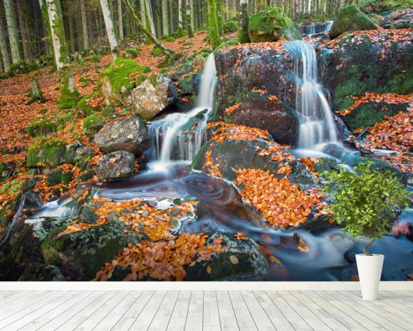 Leaves and Waterfall mural wallpaper room setting