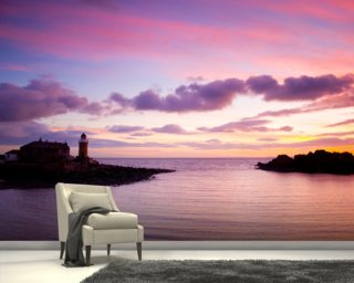 Portpatrick Lighthouse at Sundown Wall Mural Wallpaper Wall Murals