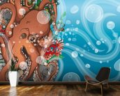 Octopus Waves (2014) mural wallpaper kitchen preview