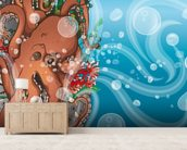 Octopus Waves (2014) mural wallpaper living room preview