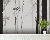 Forest Silhouette wallpaper mural in-room view