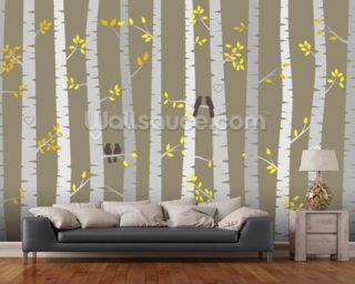 birch tree love birds mural wallpaper