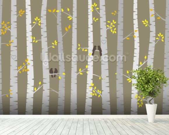 Birch tree love birds wallpaper wall mural wallsauce canada for Birch wall mural