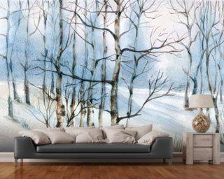 winter birch tree watercolor wallpaper mural