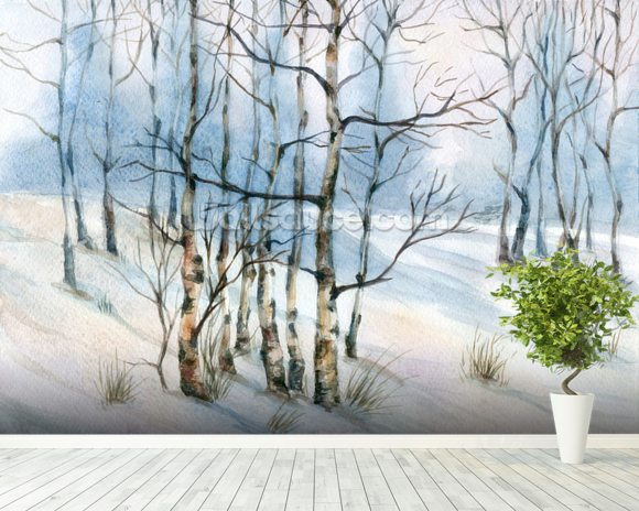 Winter Birch Tree Watercolor wall mural room setting
