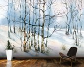 Winter Birch Tree Watercolor wall mural kitchen preview