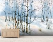 Winter Birch Tree Watercolor wall mural living room preview