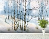 Winter Birch Tree Watercolor wall mural in-room view