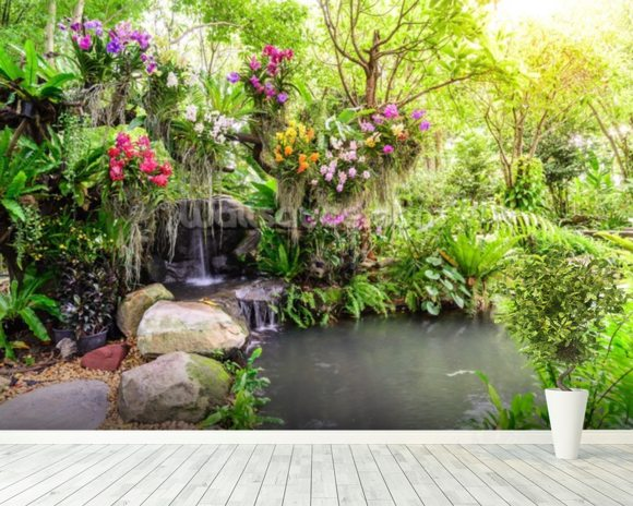 Orchid Garden Waterfall wall mural room setting