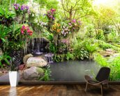 Orchid Garden Waterfall wall mural kitchen preview