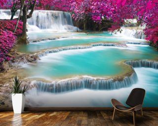 Turquoise Water of Kuang Si Waterfall Wallpaper Wall Murals