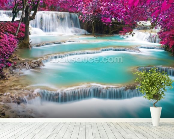 Turquoise Water of Kuang Si Waterfall wallpaper mural room setting