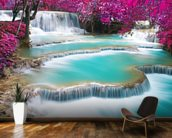 Turquoise Water of Kuang Si Waterfall wallpaper mural kitchen preview