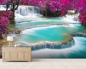 Turquoise Water of Kuang Si Waterfall wallpaper mural living room preview