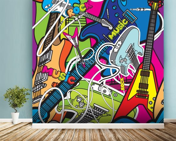 Colourful Music mural wallpaper room setting