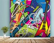 Colourful Music mural wallpaper in-room view
