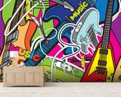 Colourful Music mural wallpaper living room preview