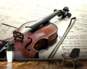 Violin and Sheet Music mural wallpaper kitchen preview