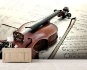 Violin and Sheet Music mural wallpaper living room preview