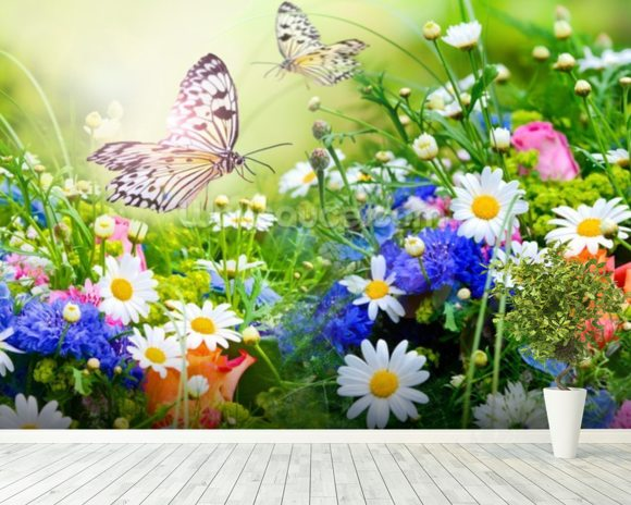 Butterflies and Flowers mural wallpaper room setting