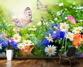 Butterflies and Flowers mural wallpaper kitchen preview