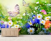 Butterflies and Flowers mural wallpaper living room preview